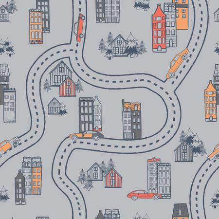 Vector blue orange grey city cars seamless pattern