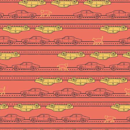 Vector yellow orange cars cats seamless pattern Illusztráció