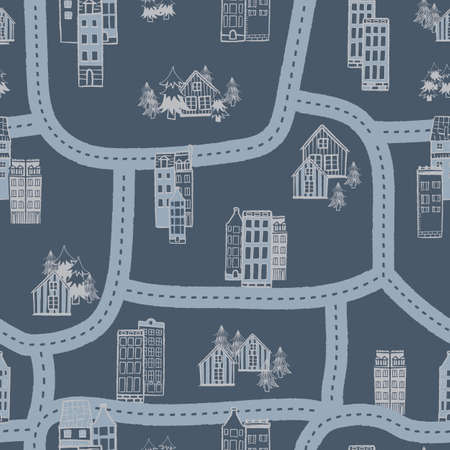 Vector blue grey city streets map seamless pattern Illusztráció