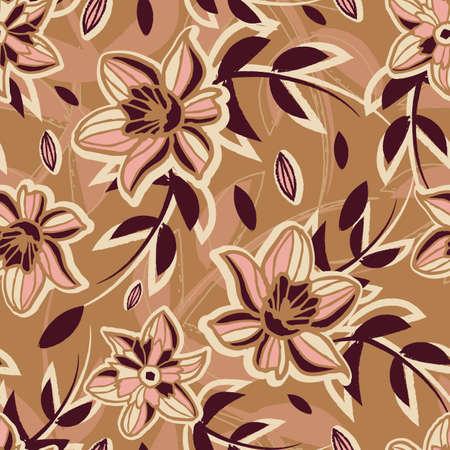 Vector ecru pink brown flowers seamless pattern