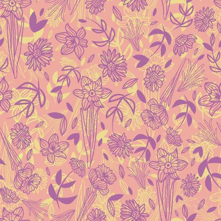 Vector green pink purple flowers seamless pattern Illusztráció