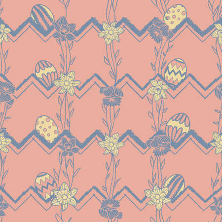 Vector easter eggs daffodils pink seamless pattern
