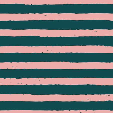 Vector drawn green pink stripes seamless pattern