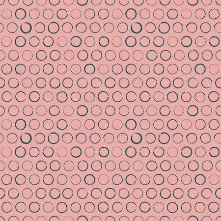 Vector drawn green circles pink seamless pattern Illusztráció