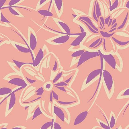 Vector ecru pink violet flowers seamless pattern Illusztráció