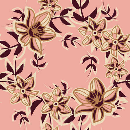 Vector pink brown flower wreaths seamless pattern Illusztráció