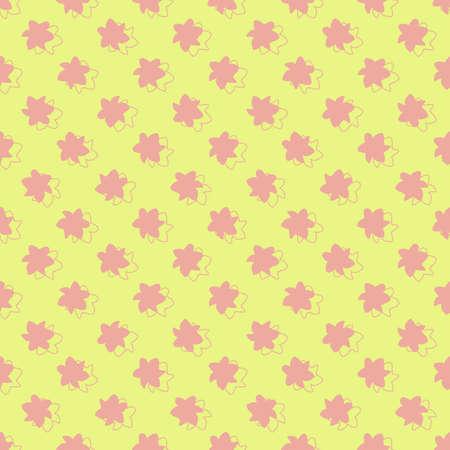 Vector yellow pink flowers stars seamless pattern Illusztráció