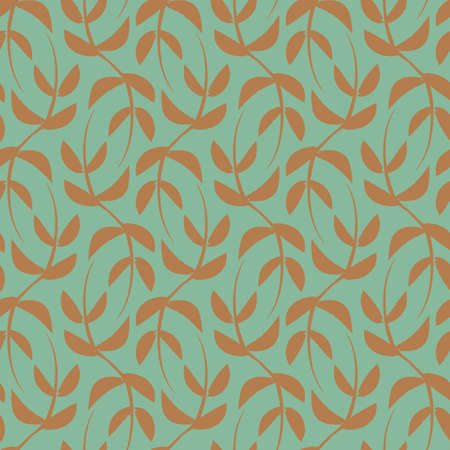 Vector green ochre leaves boho seamless pattern