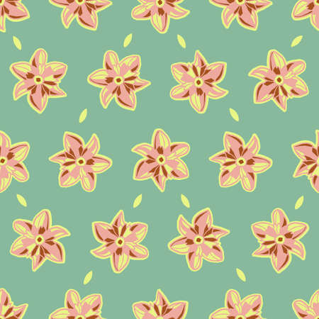 Vector pink mint spring flowers seamless pattern
