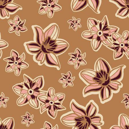 Vector pink brown flowers boho seamless pattern
