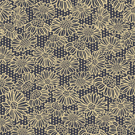 Vector yellow camomiles daisies seamless pattern