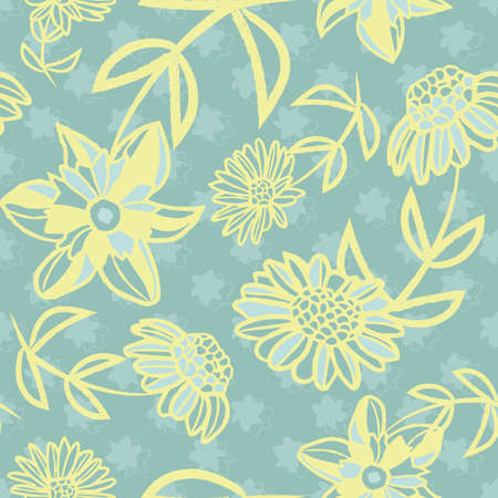 Vector yellow greenish flowers seamless pattern