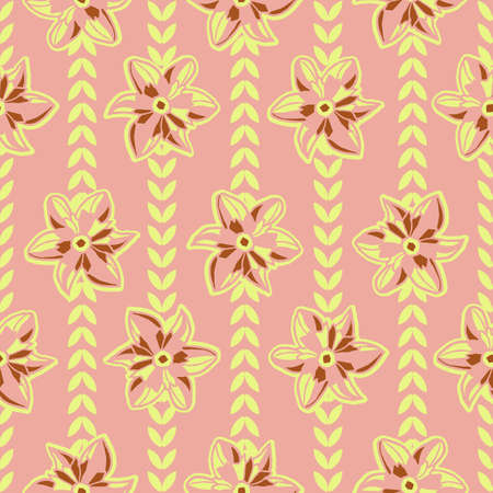 Vector yellow pink flowers leaves seamless pattern