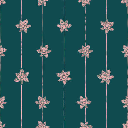 Vector green pink flowers stripes seamless pattern