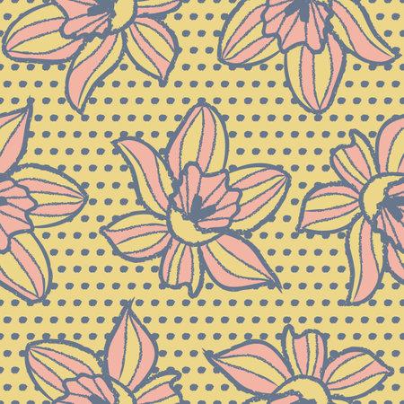 Vector yellow pink flowers dots seamless pattern Illusztráció