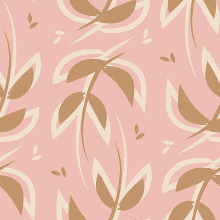 Vector pink brown leaves boho seamless pattern