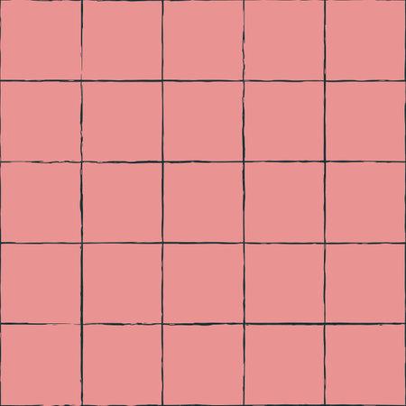 Vector green ink mesh grid pink seamless pattern