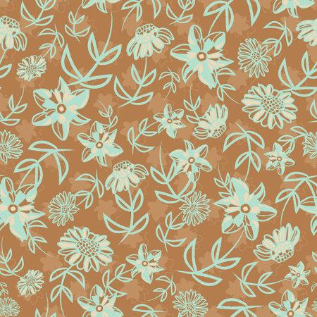 Vector blue beige flowers ochre seamless pattern Illusztráció