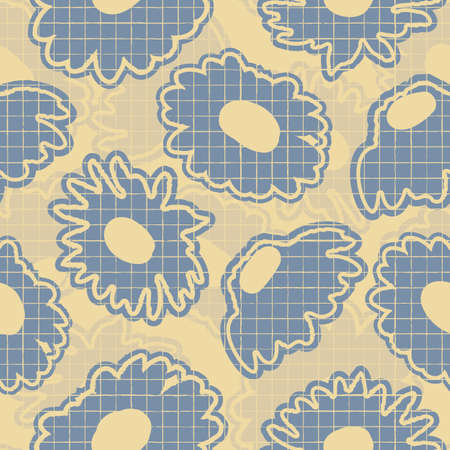 Vector grey violet yellow daisies seamless pattern