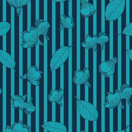 Vector blue lines flowers leaves seamless pattern