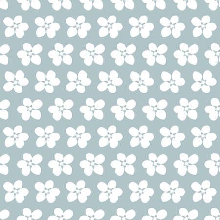 Vector white cherry flowers grey seamless pattern