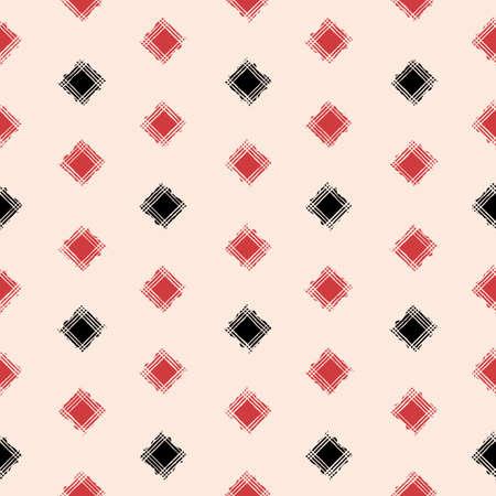 Vector red black square caro ecru seamless pattern