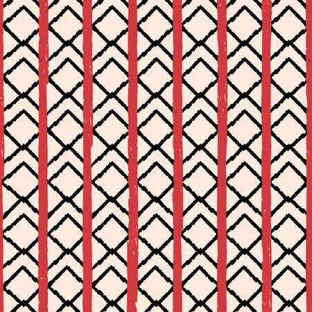 Vector black red chevrons beige seamless pattern