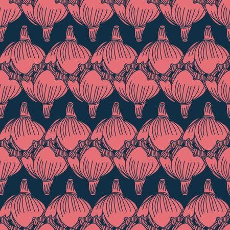 Vector pink blue flowers tassels seamless pattern