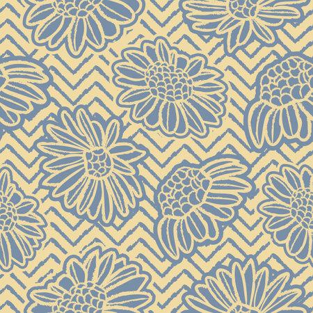 Vector blue yellow daisy striped seamless pattern Illusztráció