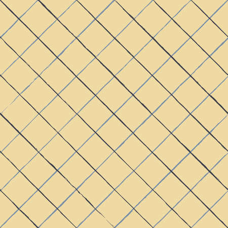 Vector blue lines check yellow seamless pattern