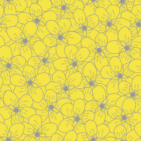Vector yellow gray cherry flowers seamless pattern