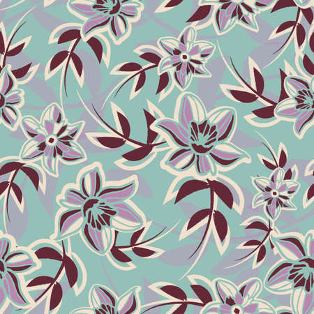 Vector violet brown green floral seamless pattern