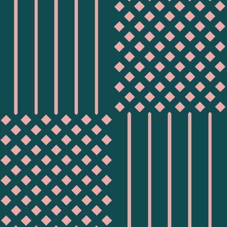 Vector pink green grid checkered seamless pattern