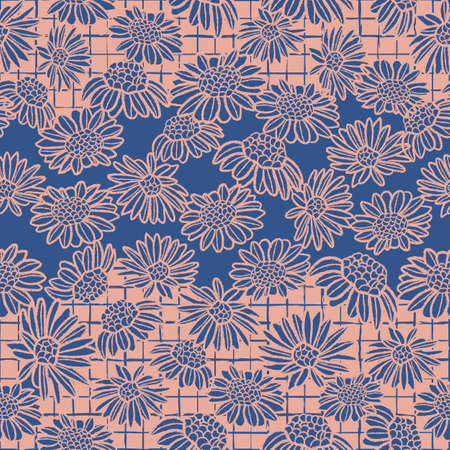 Vector blue pink daisies mesh seamless pattern