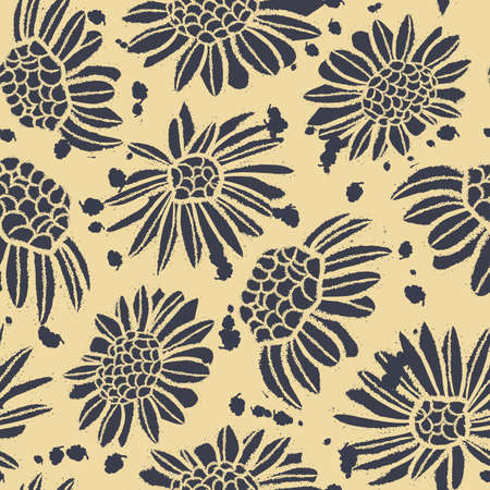 Vector ink prints daisies yellow seamless pattern