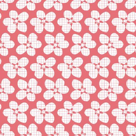 Vector white pink flowers texture seamless pattern Illusztráció