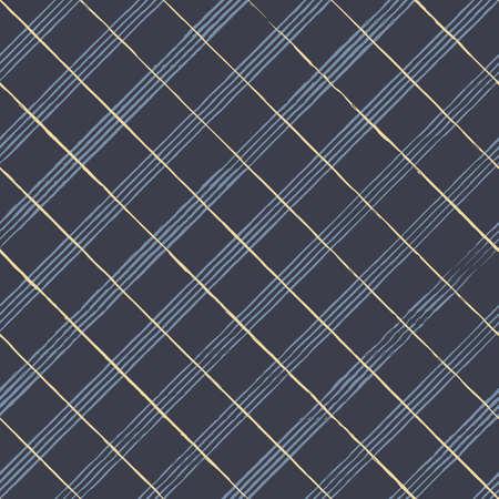 Vector blue yellow check dark seamless pattern