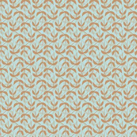 Vector mint brown leaves boho seamless pattern