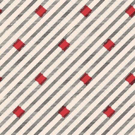 Vector drawn black stripes beige seamless pattern