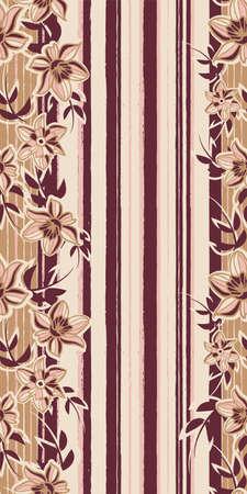 Vector pink brown flowers vertical repeat pattern