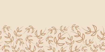 Vector border beige brown leaves seamless pattern