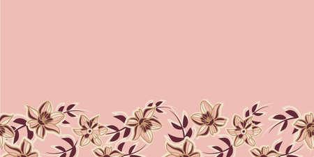 Vector border pink brown flowers seamless pattern Illusztráció