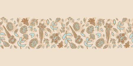 Vector border blue brown flowers seamless pattern Illusztráció