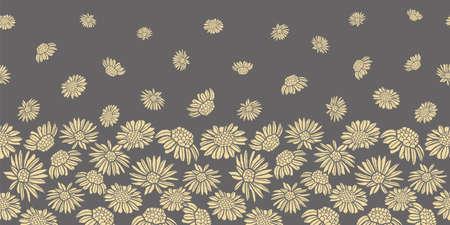 Vector grey yellow daisies border seamless pattern Stock fotó