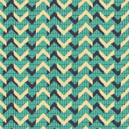 Vector yellow green chevrons mesh seamless pattern