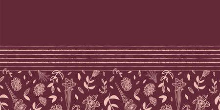 Vector pink brown flowers border seamless pattern Illusztráció