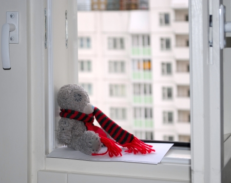 Grey bear in a red scarf  A toy on the window