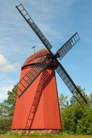 Traditional wooden windmill in Finland in the Loviisa