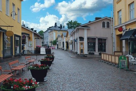 One of the quiet streets of the old city  Porvoo, Finland  Editorial
