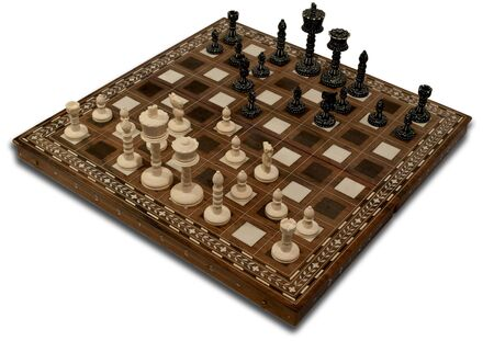 Ivory chess on the Board, isolated on a white background